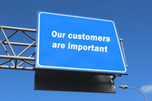 Our customers are important - highway sign